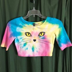 Tie Dyed Kitty Cat Crop Top